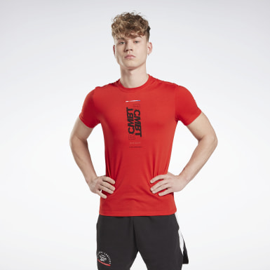 Men Fitness & Training Red Combat Wordmark Tee