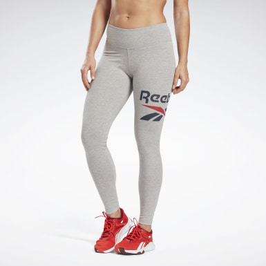 Women Fitness & Training Grey Reebok Identity Logo Leggings