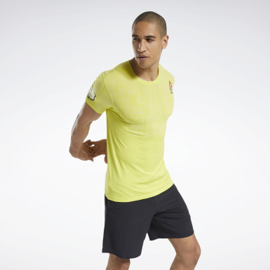 Men Cross Training Yellow Reebok CrossFit® Games MyoKnit Tee