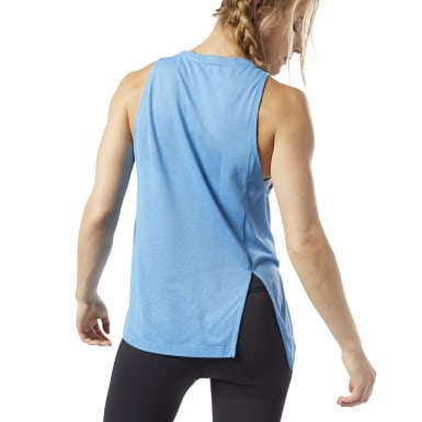 Women Fitness & Training Blue One Series Burnout Tank Top
