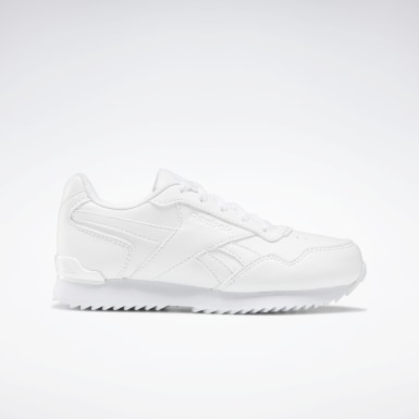 Boys Classics White Reebok Royal Glide Ripple Clip Shoes