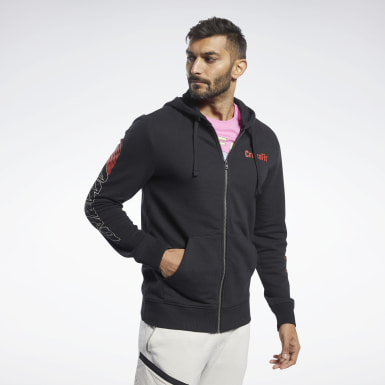 Men Cross Training Black Reebok CrossFit® Full-Zip Hoodie