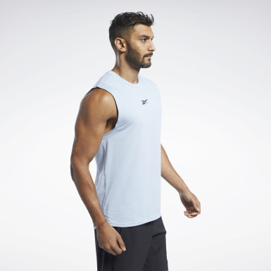 Men Fitness & Training Blue ACTIVCHILL+COTTON Sleeveless Tee