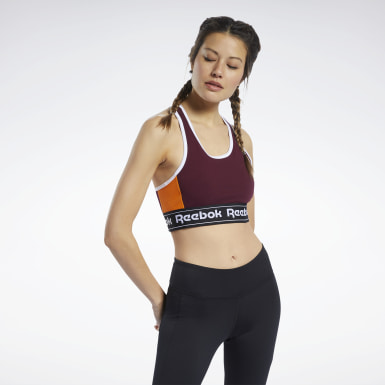 Women Training Burgundy Training Essentials Linear Logo Low-Impact Bralette