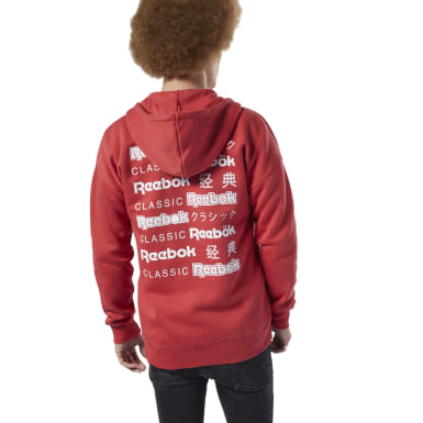 Bluza z kapturem Classics International Graphic Hoodie Czerwony