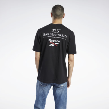 Men Classics Black 235th Barberstreet Classics Big Logo Graphic T-Shirt