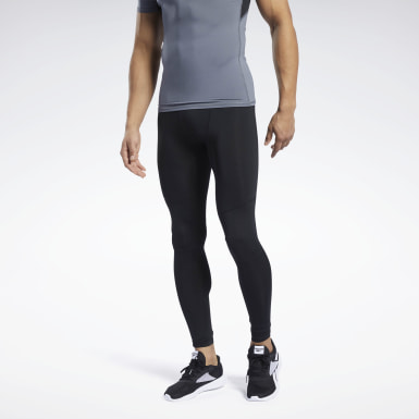 Men Hiking Black Workout Ready Compression Tights