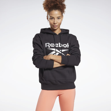Women Fitness & Training Black Reebok Identity Logo Fleece Hoodie