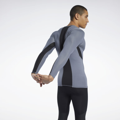 Men Hiking Grey Workout Ready Compression Tee