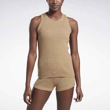 Women Training Beige VB Knitted Tank Top