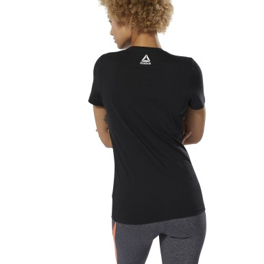 Women Fitness & Training Black GS Texture Logo Crew