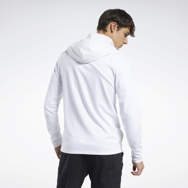 Men Training White Knit Control Hoodie