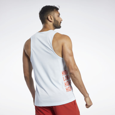 Men Cross Training Blue Reebok CrossFit® ACTIVCHILL+COTTON Tank Top