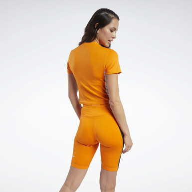 Women Cycling Orange MYT Zip Crop Top