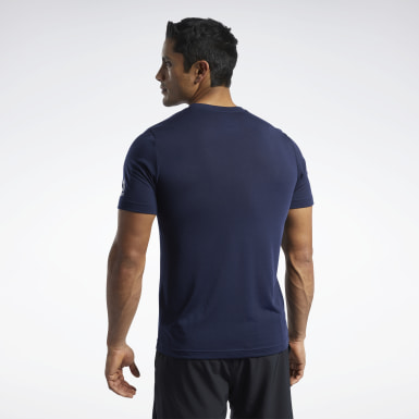 Men Cross Training Blue Reebok CrossFit® Read Tee