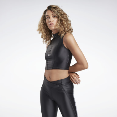 Canotta Studio High Intensity Crop Nero Donna Ciclismo