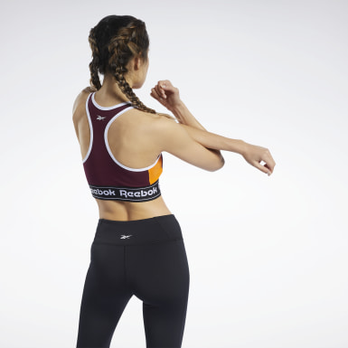Women Fitness & Training Burgundy Training Essentials Linear Logo Low-Impact Sports Bralette