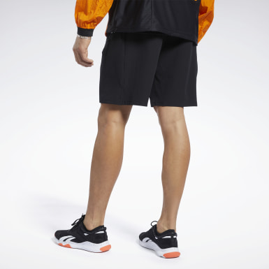 Men Fitness & Training Black Stretch Woven Shorts