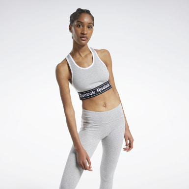 Women Fitness & Training Grey Training Essentials Linear Logo Low-Impact Bralette