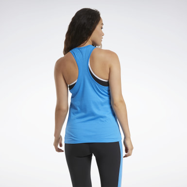 Women Cross Training Blue Training Essentials Graphic Tank Top