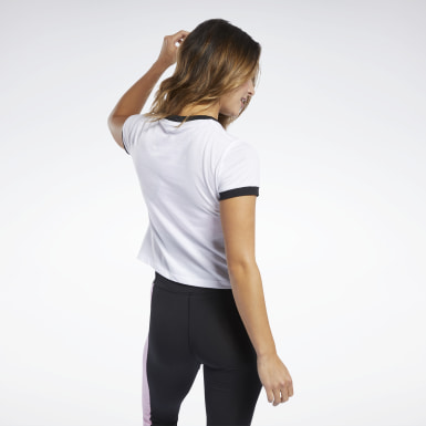 Playera Training Essentials Linear Logo Blanco Mujer Entrenamiento Funcional