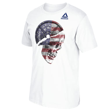 Men Training White Skull Flag Tee
