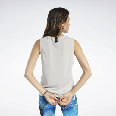 Women Training Beige Fabric Mix Tank Top