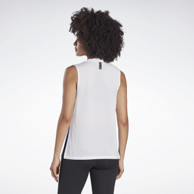 Women Studio White LES MILLS® Mesh Tank Top