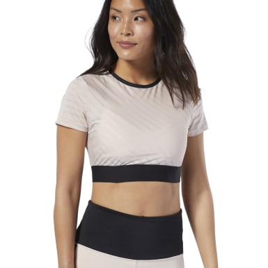 Women Studio Pink Studio Mesh Crop Top