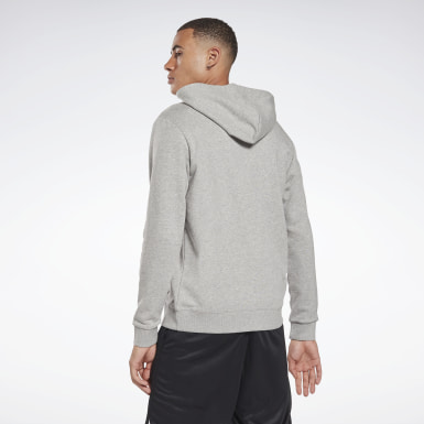 Men Training Grey Reebok Identity Zip-Up Hoodie