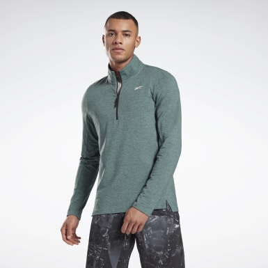 Men Fitness & Training Green Activchill+Cotton Quarter-Zip Top