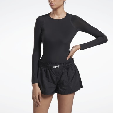 Women Training Black VB Long Sleeve Bodysuit