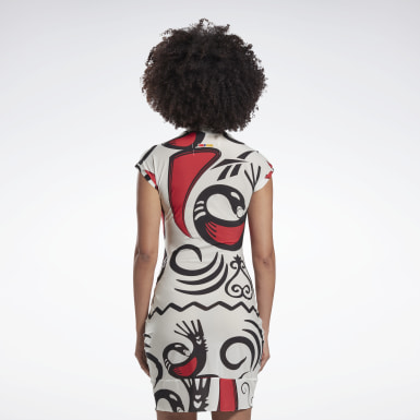 Dam Classics Vit Reebok by Pyer Moss Mesh Allover Print Sankofa Dress