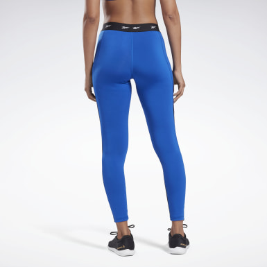 Women Pilates Blue Studio High-Rise Mesh Tights
