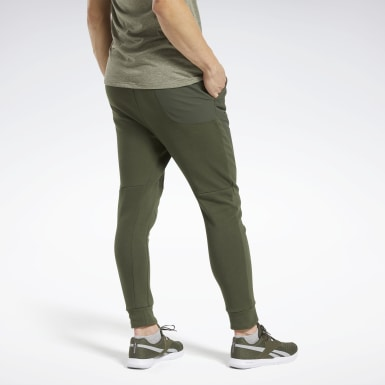 Men Fitness & Training Green Knit-Woven Joggers