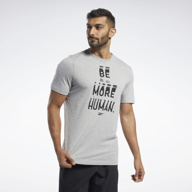 Polo De Cuello Redondo Graphic Series Be More Human Plomo Hombre Running