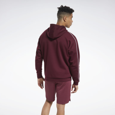 Men Outdoor Burgundy Workout Ready Full-Zip Hooded Jacket