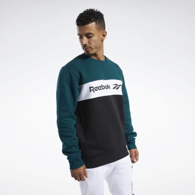 Men Classics Green Classics Linear Crew Sweatshirt