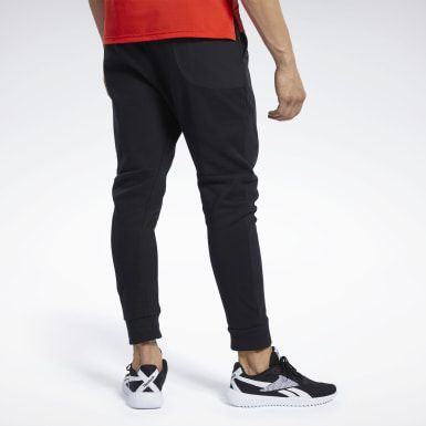 Men Fitness & Training Black Knit-Woven Joggers
