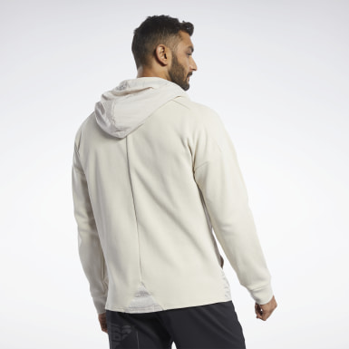 Men Fitness & Training Beige Knit-Woven Hoodie