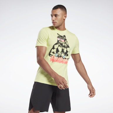 Men Fitness & Training Yellow Gritty Kitty T-Shirt