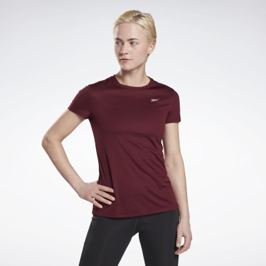 Women Terrengløping Burgundy Running Essentials Shirt