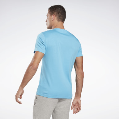 Heren Fitness & Training Turquoise Graphic Series Linear Logo T-shirt