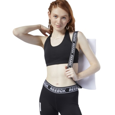 Top deportivo de impacto medio Workout Ready Padded Negro Mujer Fitness & Training