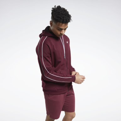 Men Training Burgundy Workout Ready Full-Zip Hoodie