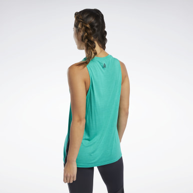 Women Studio Green Cardio Graphic Tank Top
