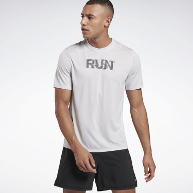 Men Trail Running White Run Essentials Run Fast T-Shirt