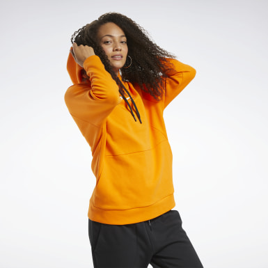 Women Fitness & Training Orange Quik Cotton Vector Hoodie
