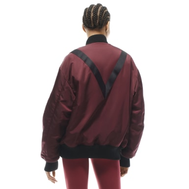 Women Fitness & Training Burgundy Victoria Beckham Oversized Bomber Jacket