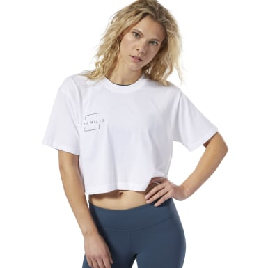 Dames Studio Wit LES MILLS® Crop T-shirt